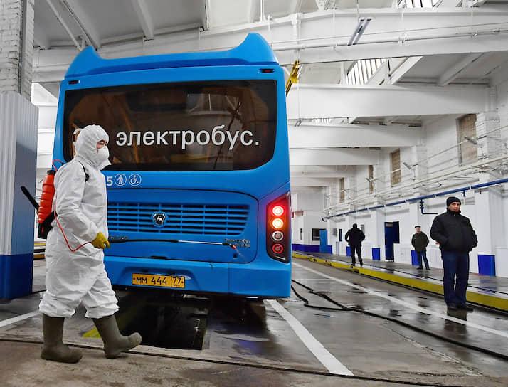Дезинфекция электробуса в Москве