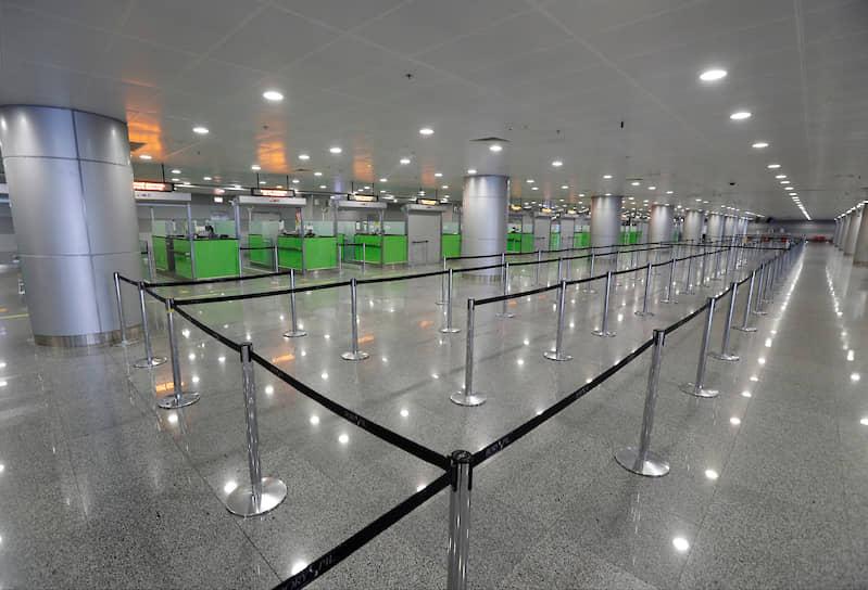 Зона прилета в аэропорту Борисполь в Киевской области. Аэропорт обслуживает более 60% международных авиаперевозок Украины
