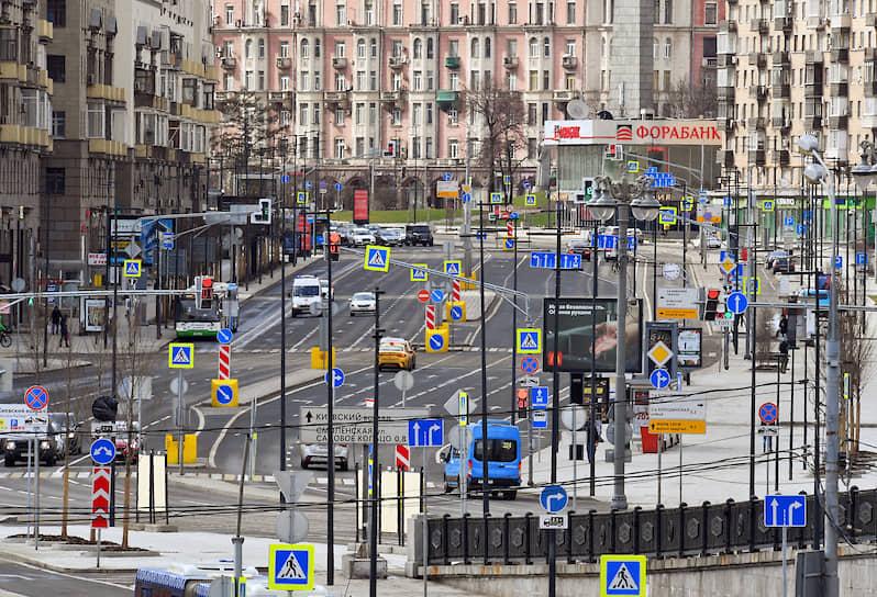Москва. Автомобильное движение во время объявленного режима всеобщей самоизоляции