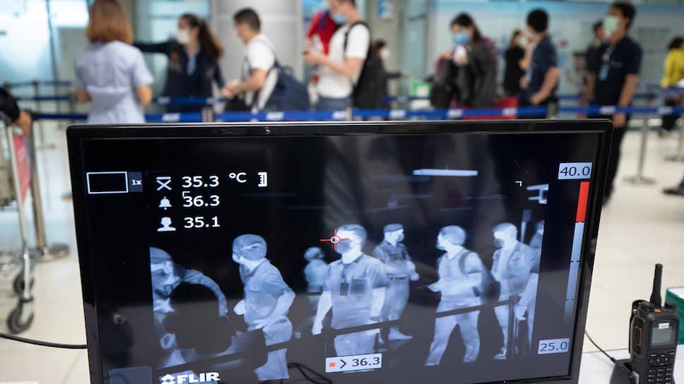 Сканер для измерения температуры тела в аэропорту Бангкока