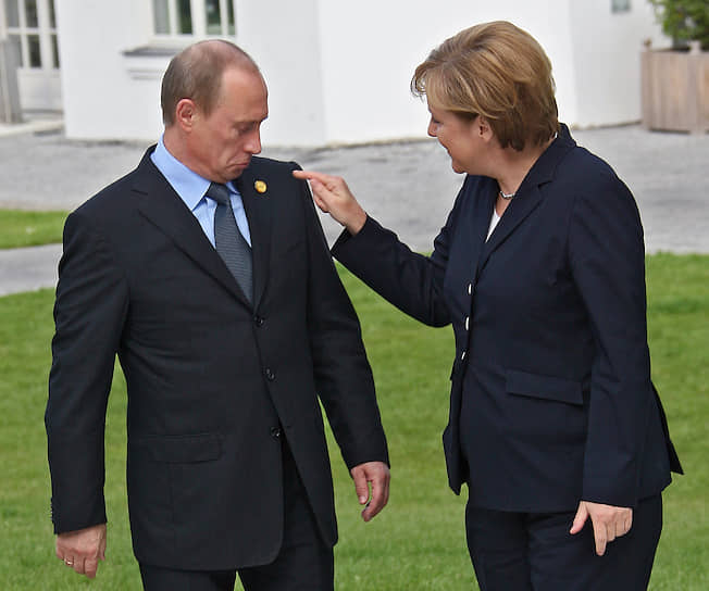 6 июня 2007 года. С канцлером ФРГ Ангелой Меркель перед началом саммита G8