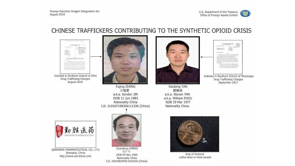 Несколько китайских торговцев синтетическими наркотиками подпали под санкции Минфина США (Янь Сяобин — на верхнем правом фото)