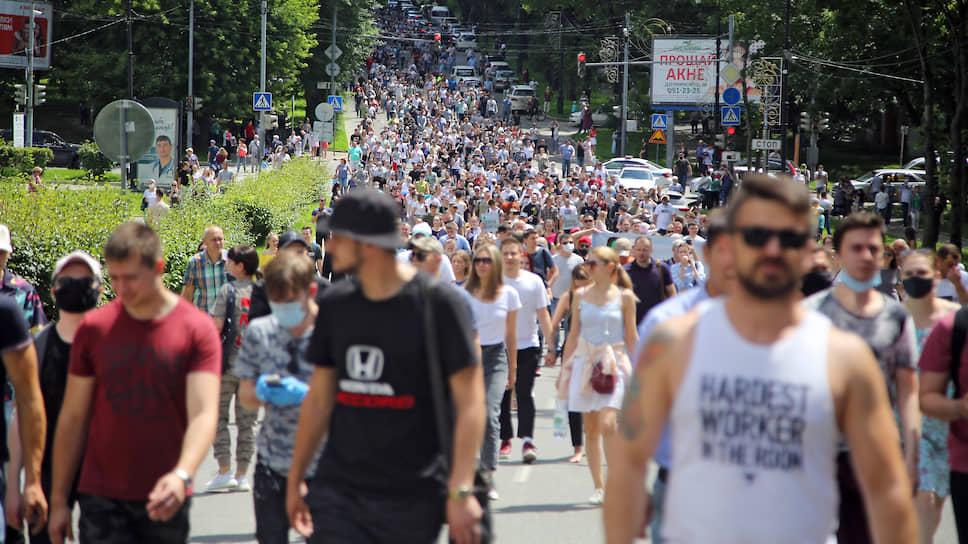 """По оценке корреспондентов """"Ъ"""", в акции участвовало порядка 30 тыс. человек"""