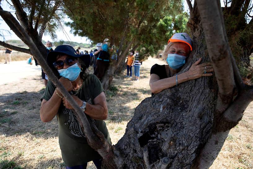 Герцлия, Израиль. Люди обнимают деревья в национальном парке в рамках акции, проводимой на фоне пандемии