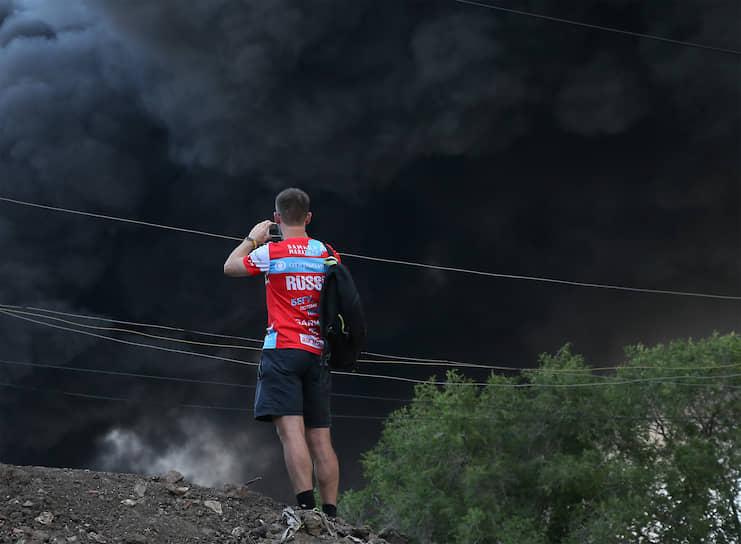Самара, Россия. Пожар на складе лакокрасочных материалов