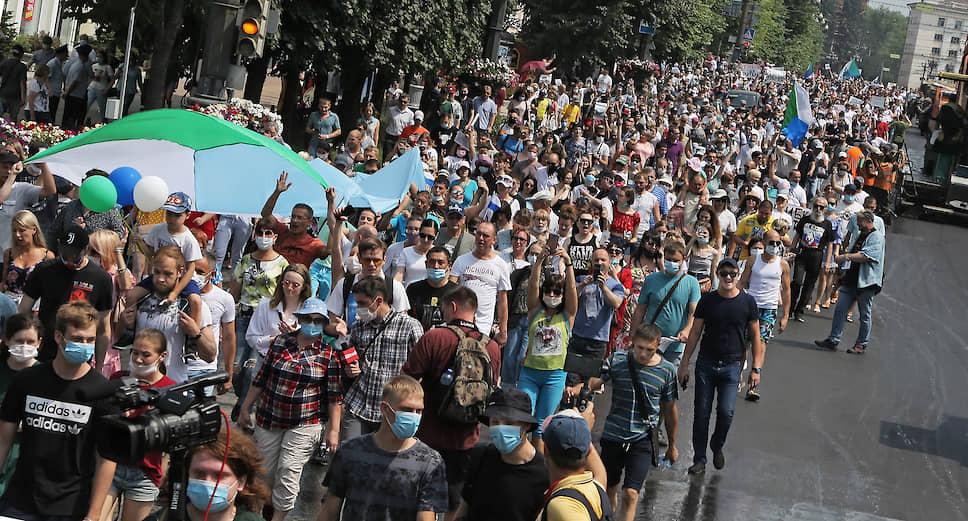 Участники акции требовали освободить губернатора из московского СИЗО «Лефортово»
