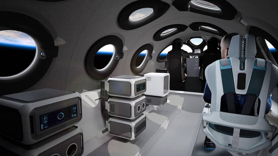 В салоне VSS Unity установлены шесть пассажирских кресел из алюминия и углеволокна, они могут менять свое положение и угол наклона в зависимости от этапа путешествия