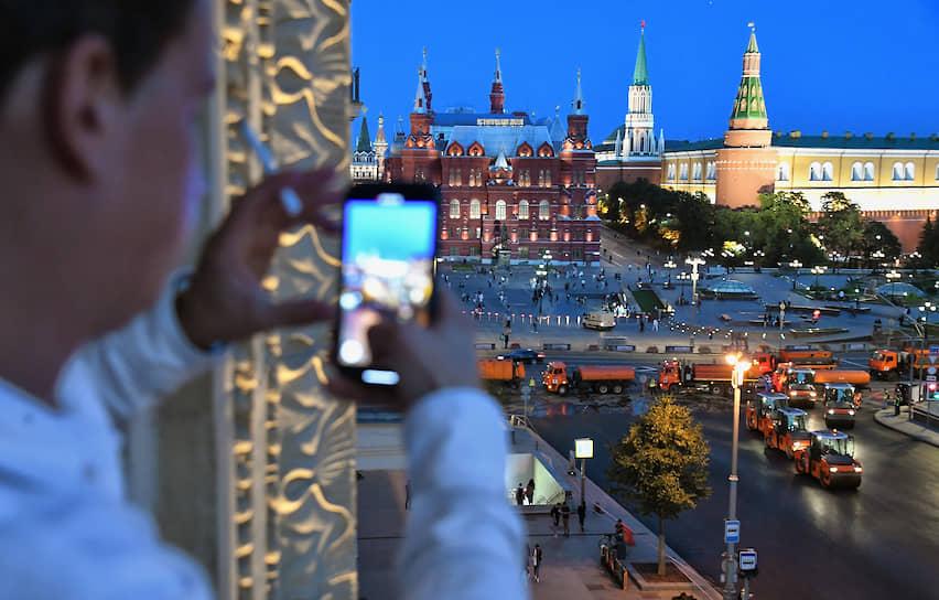 Москва. Ремонтные работы на Тверской улице