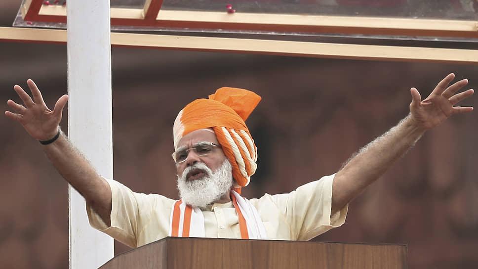 Премьер-министр Индии Нарендра Моди во время обращения к нации в День независимости