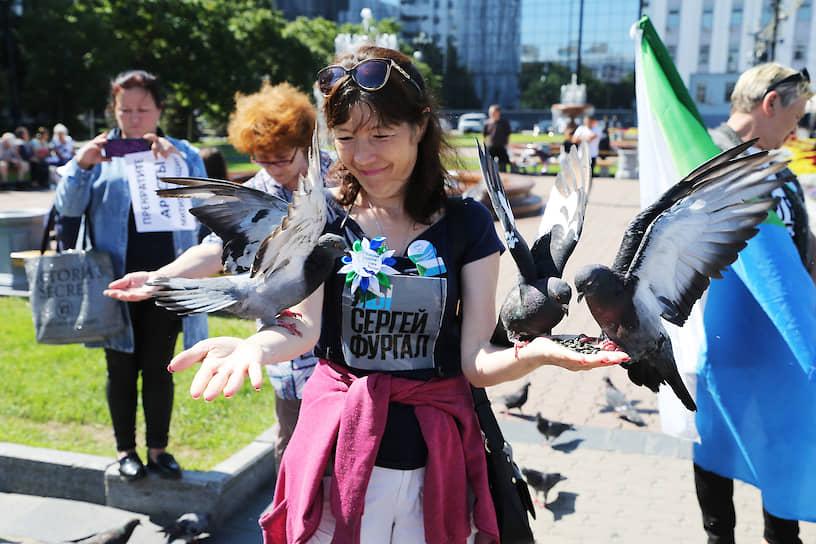 Митинг в поддержку арестованного экс-губернатора Сергея Фургала в Хабаровске