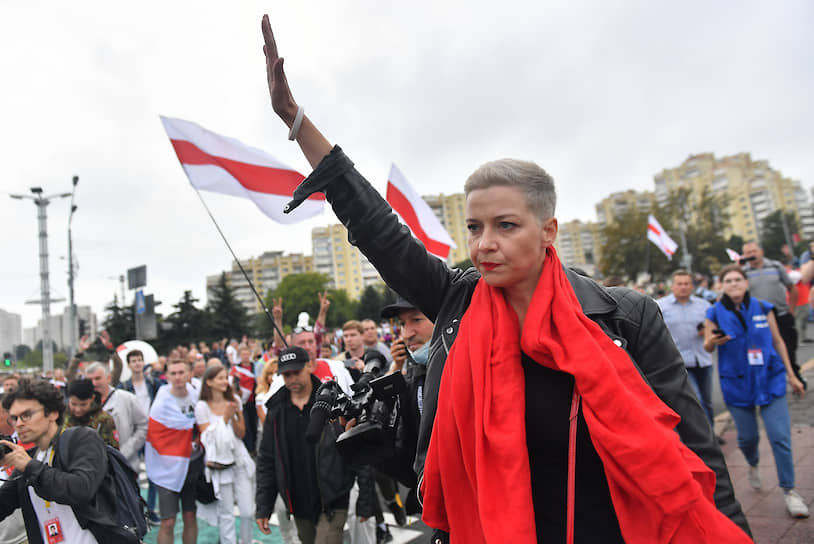 Член координационного совета оппозиции Белоруссии Мария Колесникова во время акции