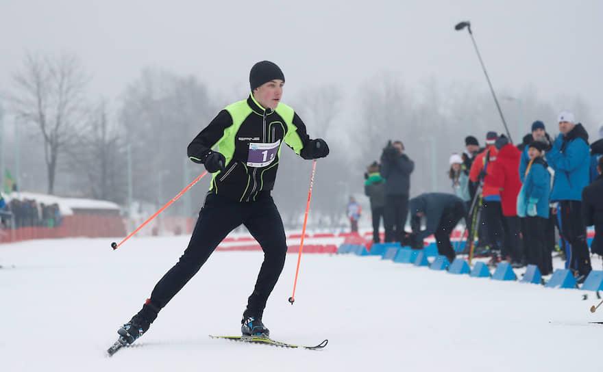 14-летний Николай Лукашенко на соревнованиях «Минская лыжня-2019»