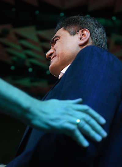 8 августа. Москва. Основатель партии «Новые люди», предприниматель Алексей Нечаев во время партийного съезда
