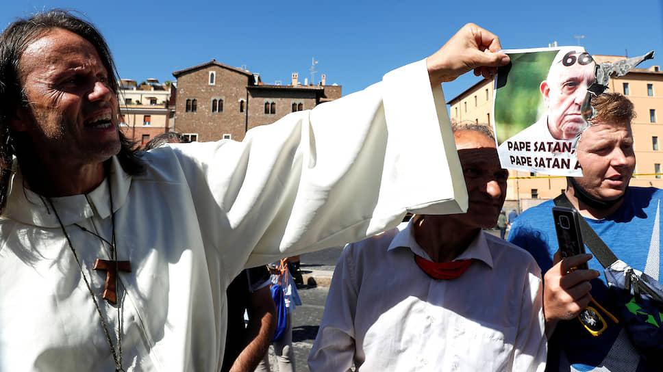 Манифестация противников ограничительных мер в Италии под лозунгом «Долой маски!»