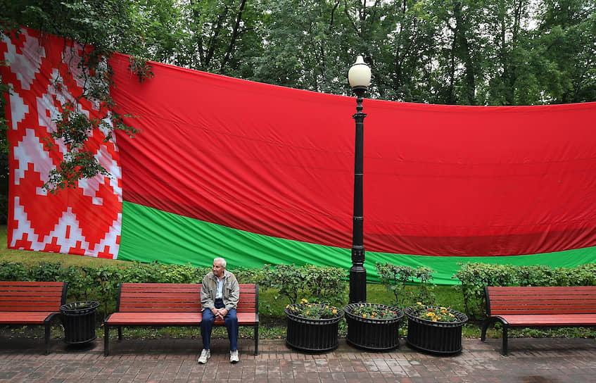 Акция в поддержку президента Александра Лукашенко в сквере Жукова 19 августа