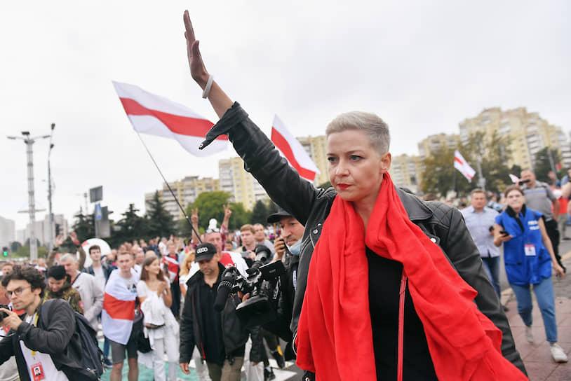 Член президиума координационного совета оппозиции Белоруссии Мария Колесникова во время акции протеста в Минске 23 августа