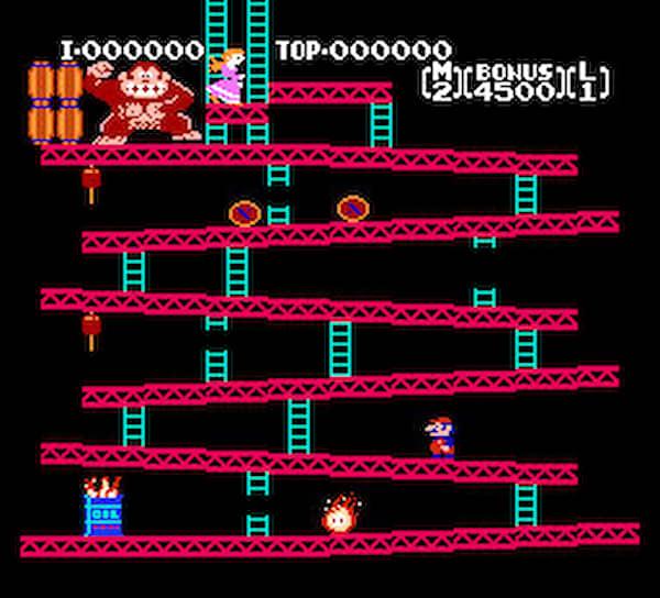 В игре плотник Прыгун (Jumpman, впоследствии стал известен как водопроводчик Марио) должен был победить главного злодея — обезьяну Донки Конга