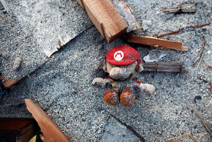 Марио является героем комиксов, аниме, нескольких телевизионных сериалов и одного полнометражного фильма <br> На фото: игрушка Марио среди руин землетрясения в Японии в 2011 году