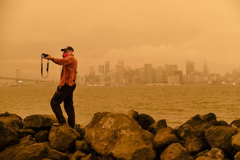 Дым от лесных пожаров над Сан-Франциско