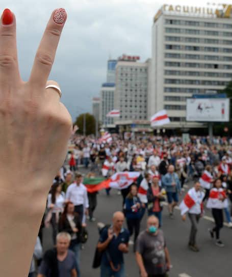 Минск, Белоруссия. Участники акции протеста «Марш единства»