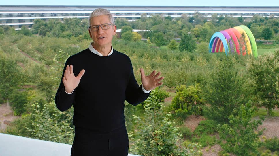 Генеральный директор Apple Тим Кук во время онлайн-презентации