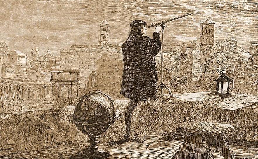 Еще юным студентом Тихо Браге нашел неточности в астрономических таблицах Николая Коперника (на гравюре)