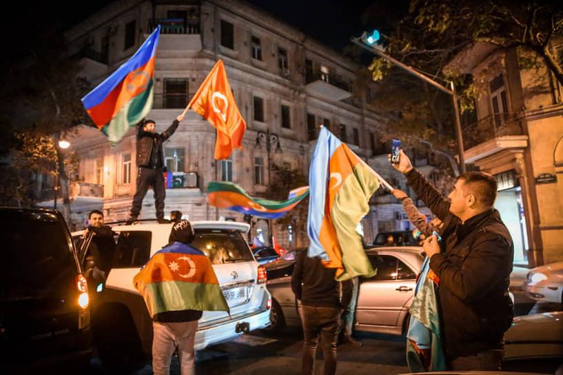 Празднование на улицах Баку