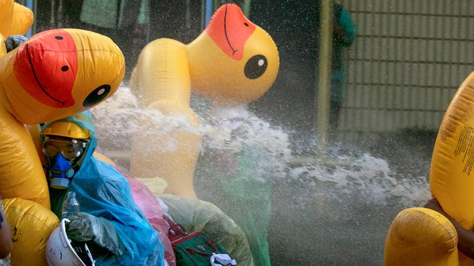 Бангкок, Таиланд. Протестующие укрываются от водометов за надувными утками