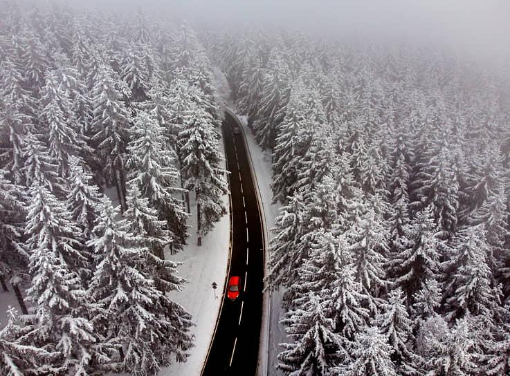 Франкфурт, Германия. Дорога среди заснеженного леса