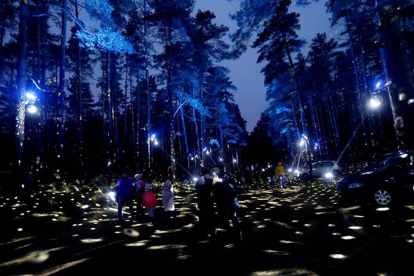 Рига, Латвия. Люди гуляют по подсвеченному лесу