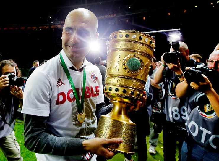 В сезоне 2015/16 команда четвертый раз подряд одержала победу в Бундеслиге. В мае 2016 года в последнем матче под руководством Гвардиолы «Бавария» в серии пенальти переиграла дортмундскую «Боруссию» и выиграла Кубок Германии, оформив тем самым «золотой дубль»