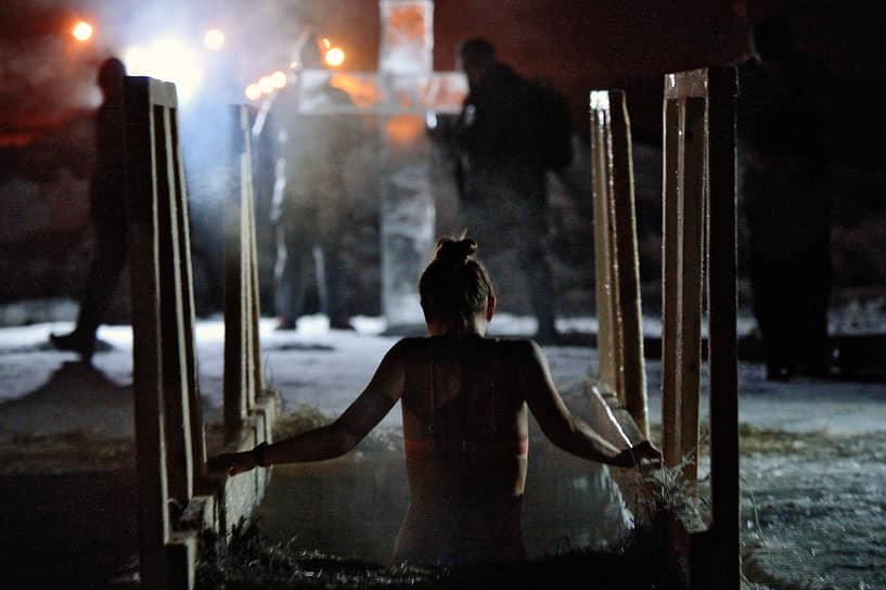 Крещенские купания в Шершневском водохранилище в Челябинске