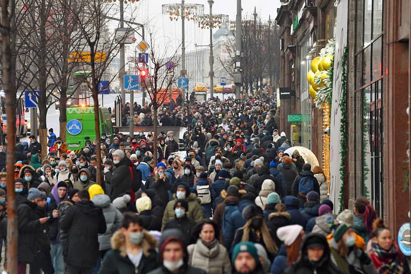 Колонна митингующих вышла с Пушкинской площади в сторону Манежной