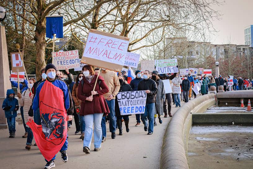 Акция в поддержку Алексея Навального в американском Сиэтле