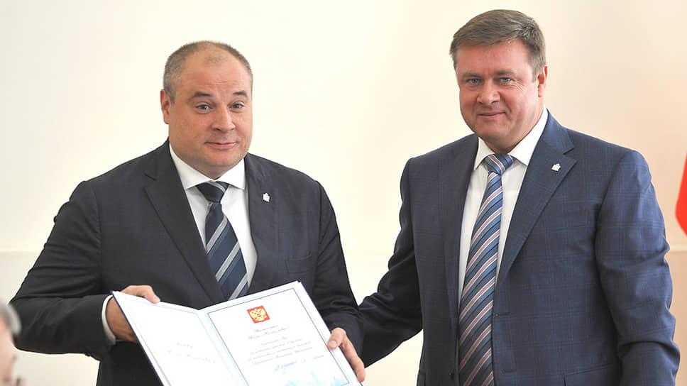 Губернатор Рязанской области Николай Любимов (справа) и вице-губернатор Игорь Греков в 2018 году