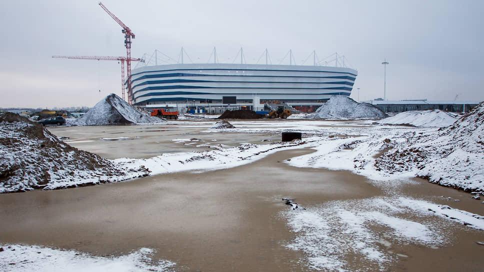 Строительство стадиона «Калининград» в 2017 году