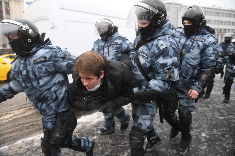 Несанкционированная акция сторонников оппозиционера Алексея Навального в Москве
