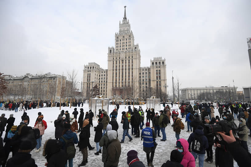 Несанкционированная акция сторонников Алексея Навального в Москве