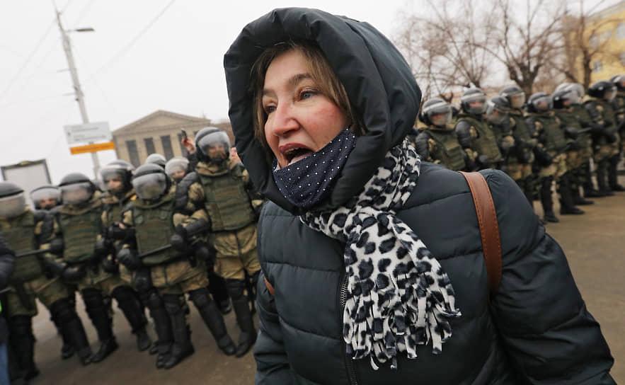 Участница акции протеста в Волгограде