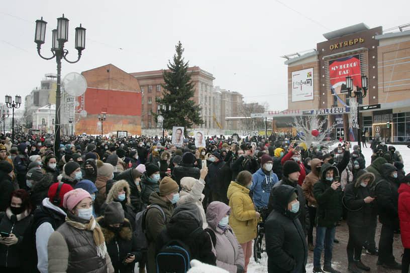 Акция протеста  в Нижнем Новгороде против ареста Алексея Навального