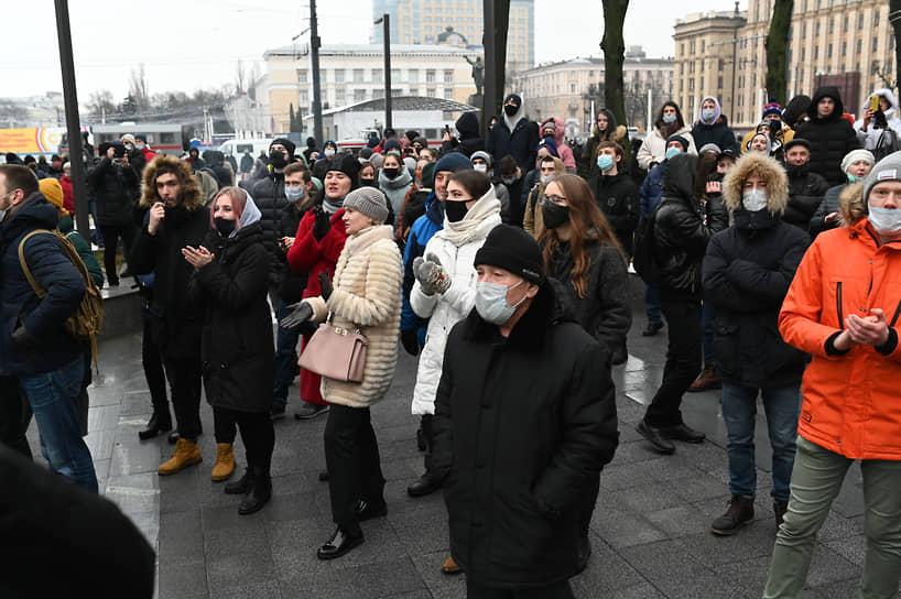 Участники акции протеста в Воронеже