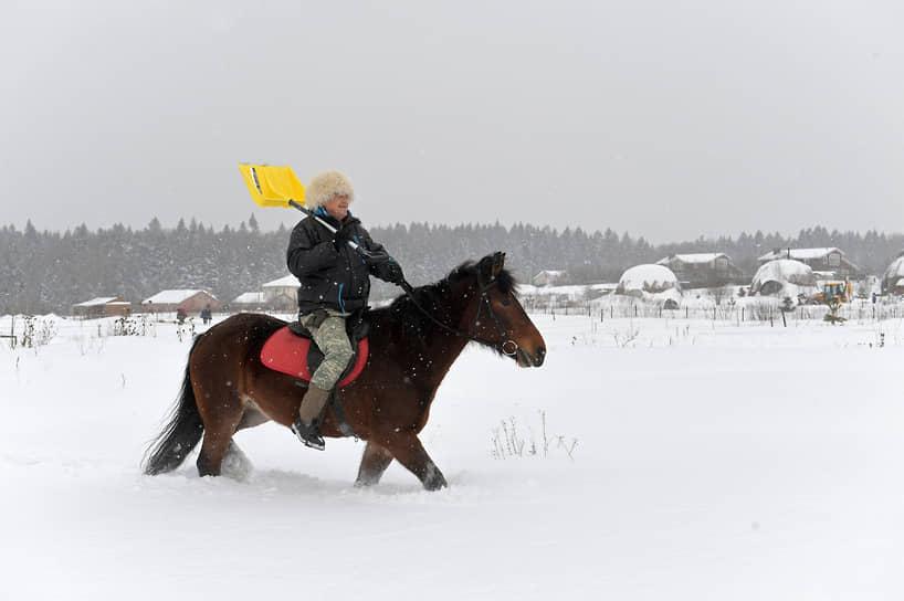 Мужчина на лошади с лопатой в поле