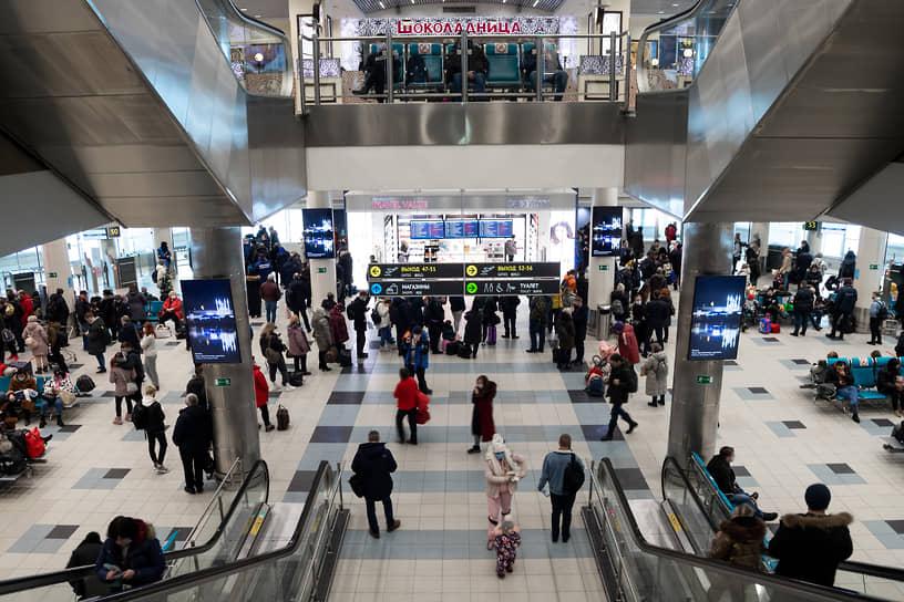 Пассажиры в аэропорту Домодедово ожидают вылета. Из-за снегопада многие рейсы были задержаны или отменены