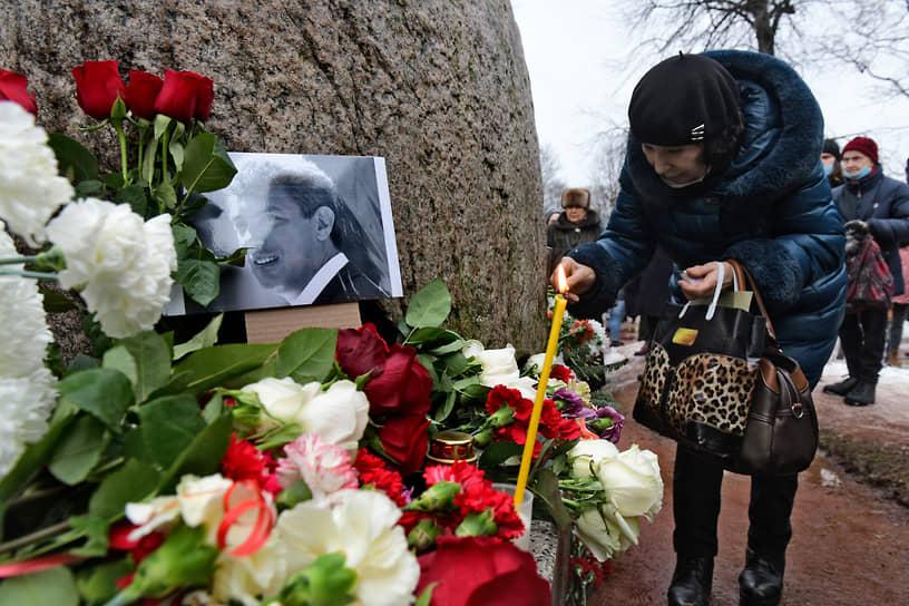 Акция памяти Бориса Немцова в Санкт-Петербурге