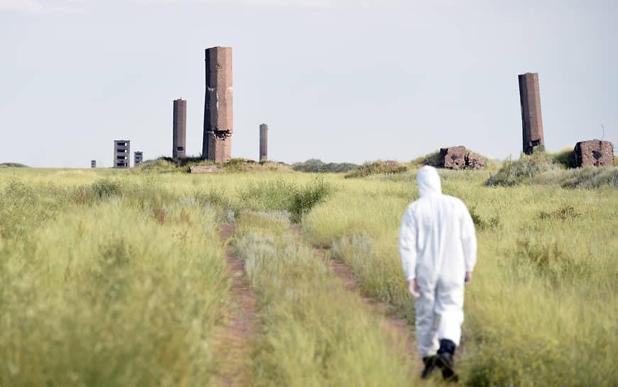 Территория бывшего Семипалатинского ядерного испытательного полигона в Казахстане