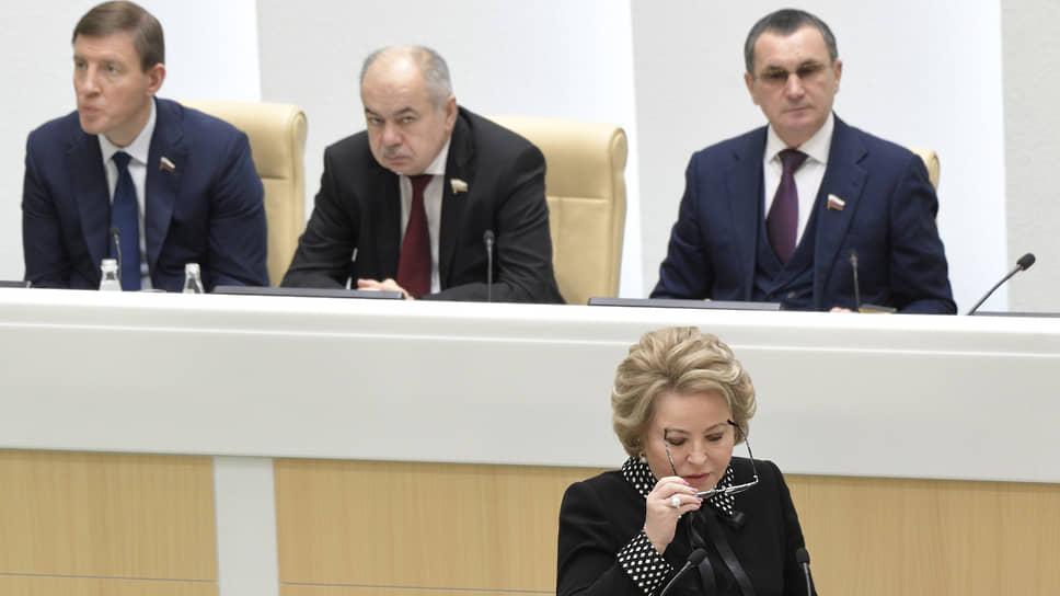Председатель Совета Федерации России Валентина Матвиенко во время пленарного заседания
