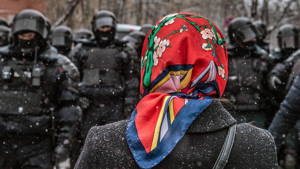 Во время несогласованной акции в поддержку оппозиционера Алексея Навального в Москве
