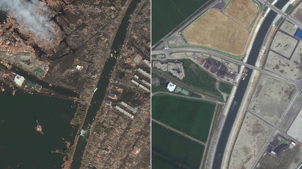 11 марта 2011 года мощное землетрясение и последовавшее за ним цунами спровоцировали аварию на АЭС «Фукусима-1» в Японии. Территория в радиусе 20 км от станции превратилась в зону отчуждения. Радиоактивные элементы были обнаружены в воздухе, морской и питьевой воде, продуктах питания<br> На фото: спутниковый снимок затоплений и разрушений в марте 2011 года и тот же район после восстановления в августе 2020-го