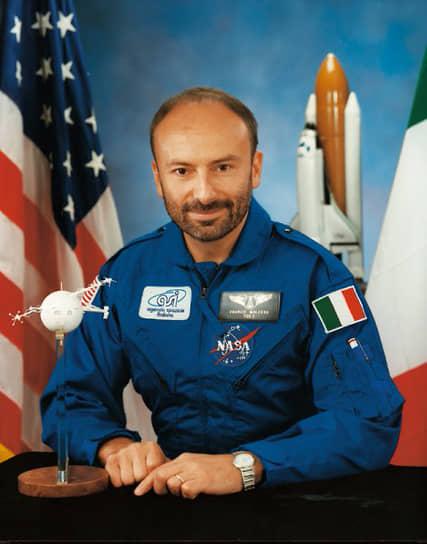 <b>Франко Малерба, Италия</b><br> Совершил полет 31 июля 1992 года на борту шаттла «Атлантис». До этого дважды не прошел отбор. В последствии работал в Европарламенте и Итальянском космическом агентстве