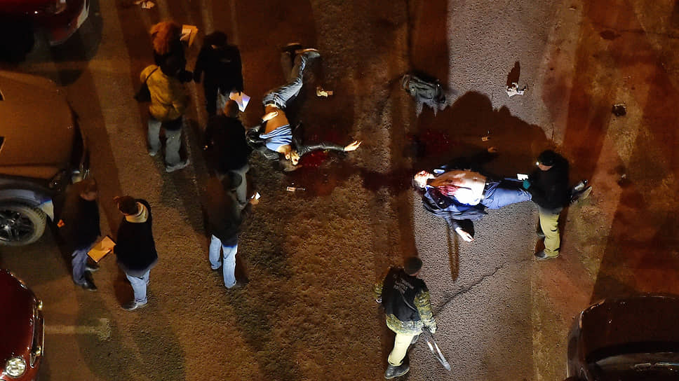 Место убийства руководителя Центра противодействия экстремизму МВД России по Ингушетии Ибрагима Эльджаркиева и его брата, нейрохирурга Ахмеда Эльджеркиева